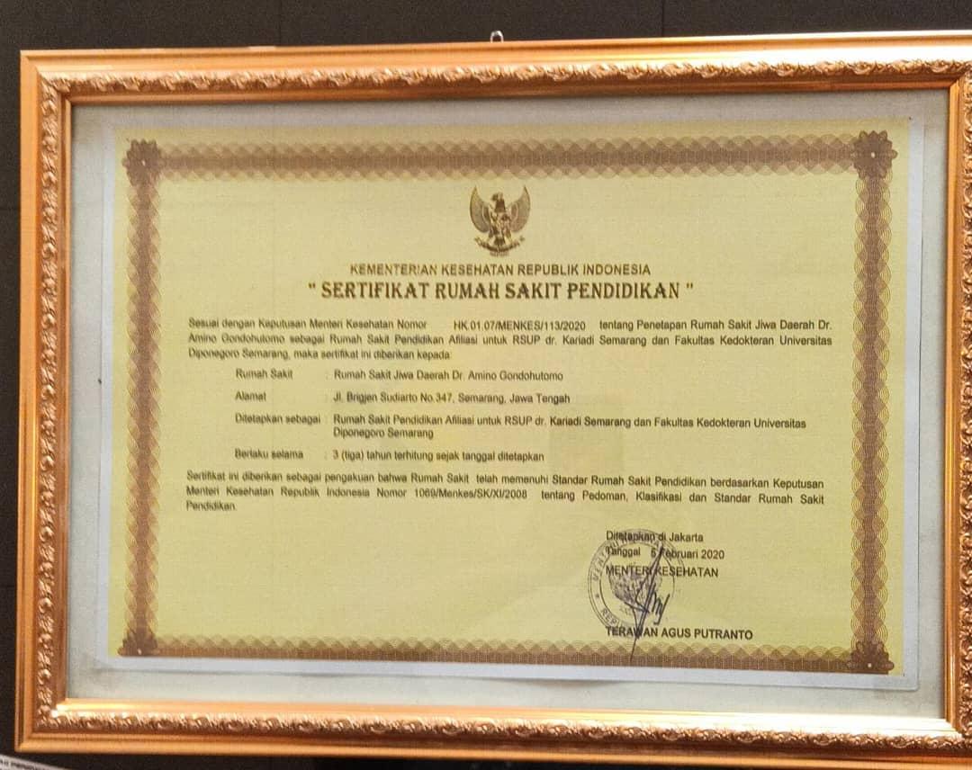 RSJD Dr. Amino Gondohutomo Provinsi Jawa Tengah ; Rumah Sakit Pendidikan Afiliasi